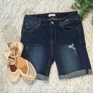 Kensie Dark Wash Denim Shorts